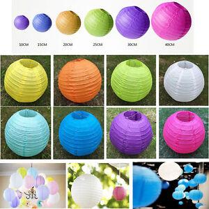 "Round Paper Lanterns Lamp Shade Wedding Birthday Party Decor 6/"" 8/"" 10/"" 12/"" 14/"""