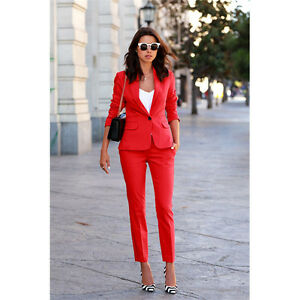Red Laides Pant Suits Office Uniform Style Female Womens Business 2