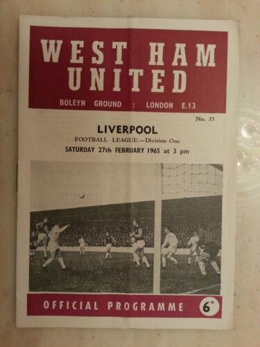 1964/65 Football League- WEST HAM UNITED v LIVERPOOL - 27th February