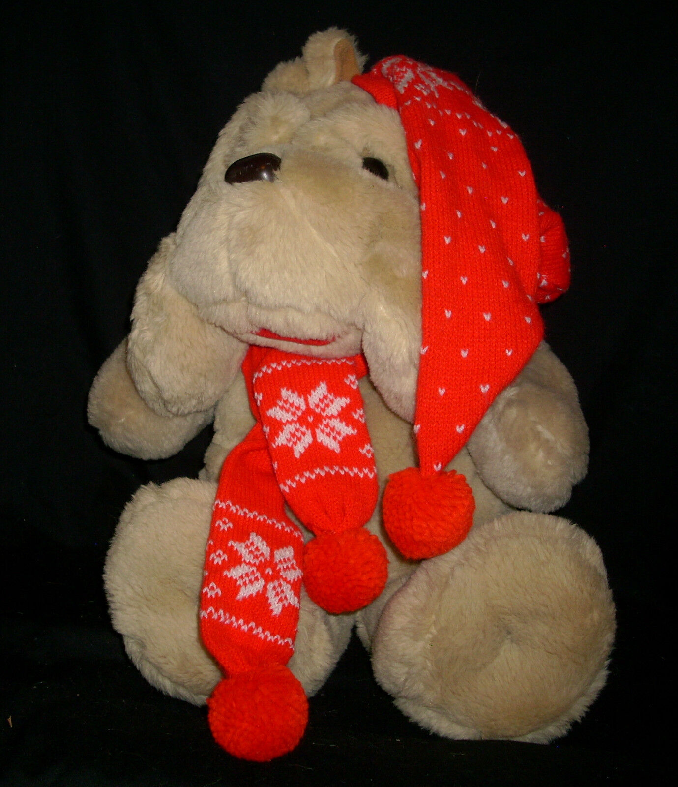 18  VINTAGE 1984 COMMONWEALTH BROWN PUPPY DOG CHRISTMAS STUFFED ANIMAL PLUSH TOY