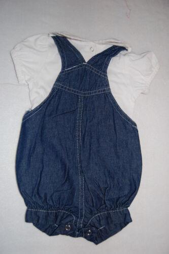 Toddler Girls Bib Overall Jean Shorts WHITE SHIRT Embroider 0-3 Mo 3-6 Mo 6-9 Mo