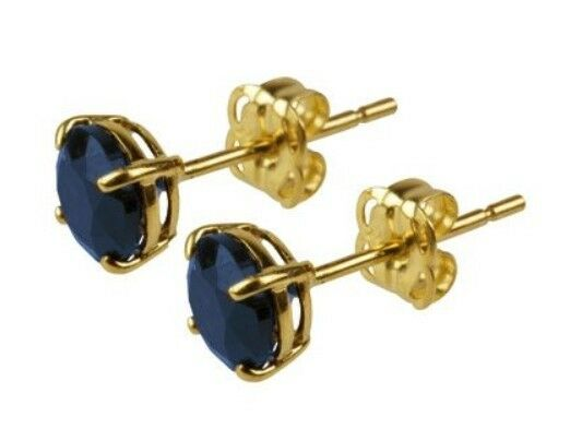 9ct Yellow Gold 5mm Round Blue Sapphire Studs Earrings