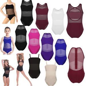 Girls-Gymnastics-Ballet-Dance-Dress-Kids-Sleeveless-Cutout-Leotard-Mesh-Costume