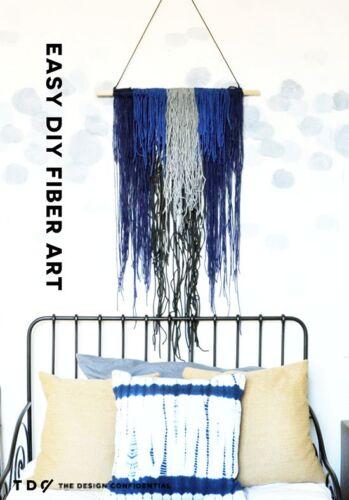 Knotted Scarf PB DIY WallDecorHanger MixFibre PURPLE VIOLET BLUE3Mtr 47Strands