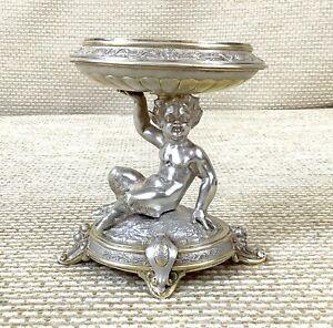 1879 Antico Massiccio Argento Dorato Tavolo Garniture Ciotola Stand Fauno Statua