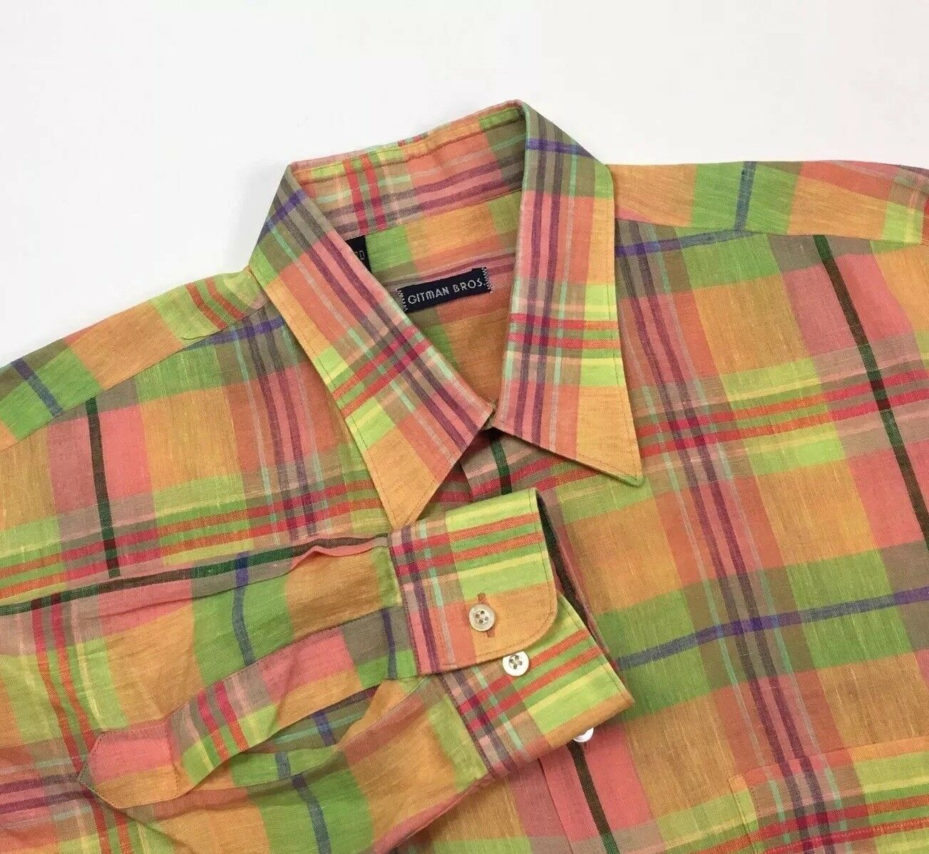 B8 Gitman Bros Multicolord Plaid Linen Long Sleeve Button Up Mens L