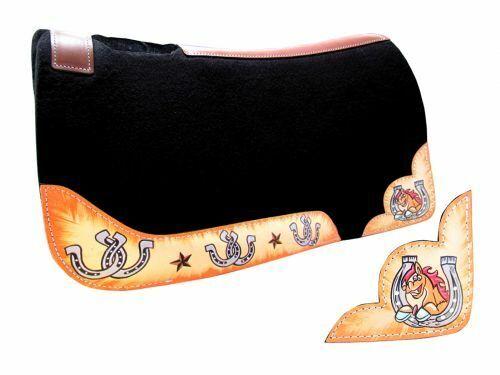 Showman PONY Größe Horseschuhe & Horse Head 24  x 24  x 1  Felt Western SADDLE PAD