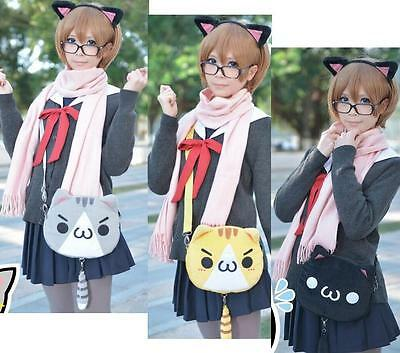 Japan Kaomoji-kun Emotiction Neko Atsume Plush Cat Meow Girls Shoulder Bag