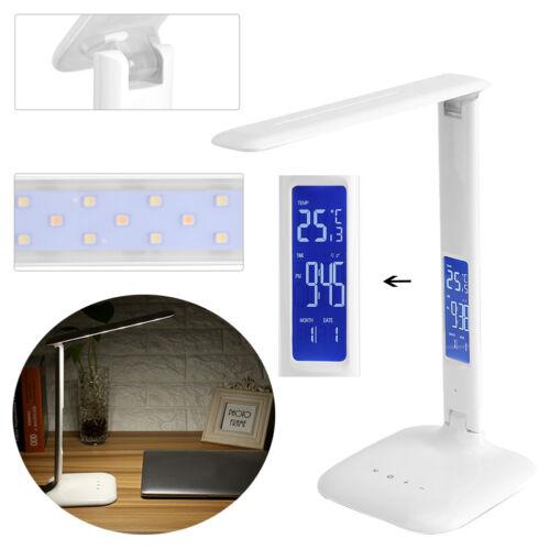 8W dimmbar 5 Modi Schreibtischlampe Tischleuchte mit Temperatur Uhr Nacht-Licht