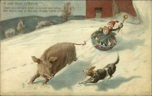 Kids-Sledding-Pulled-by-Pig-Chased-by-Dog-A-WORK-BY-BACON-c1910-Postcard