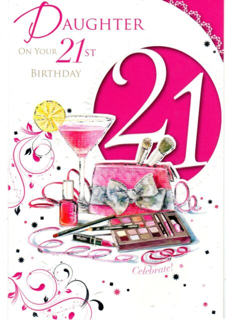 Bling Theme Daughter 21st Happy Birthday Greetings Cards Age 21