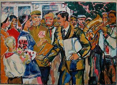 collective farm Soviet worker Antique oil painting original Socialist realism Soviet art Ukrainian artist Vitkovsky L.I 37-75 1970s
