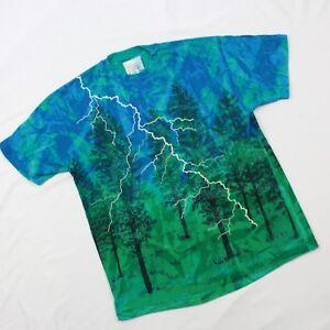 80's Color Art Clothes T-shirt Artist Signed Landscape Tie Dye Single Stitch USA