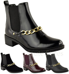 Ladies-Women-Flat-Mid-Heel-Pull-On-Stretch-Chelsea-Gusset-Ankle-Boots-Shoes-Size