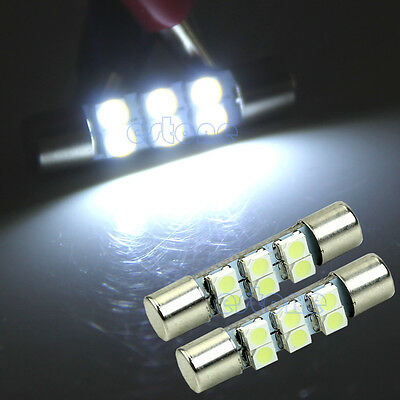 2X T6 6-LED 3528 SMD White LED Bulbs For Car Sun Visor Vanity Mirror Fuse Lights