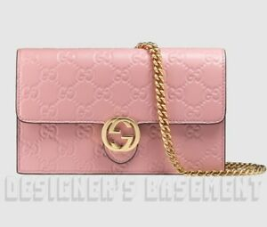 2c9ab5ae4ef8 Image is loading GUCCI-pink-GUCCISSIMA-Leather-INTERLOCKING-G-Mini-CHAIN-