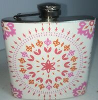 Stainless Steel 6 Oz Flask - Fun Pink + Orange - Girls Night Out - Purse Size