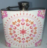 Stainless Steel 6 Oz Flask - Fun Pink + Orange - Girls Night Out - Purse Size