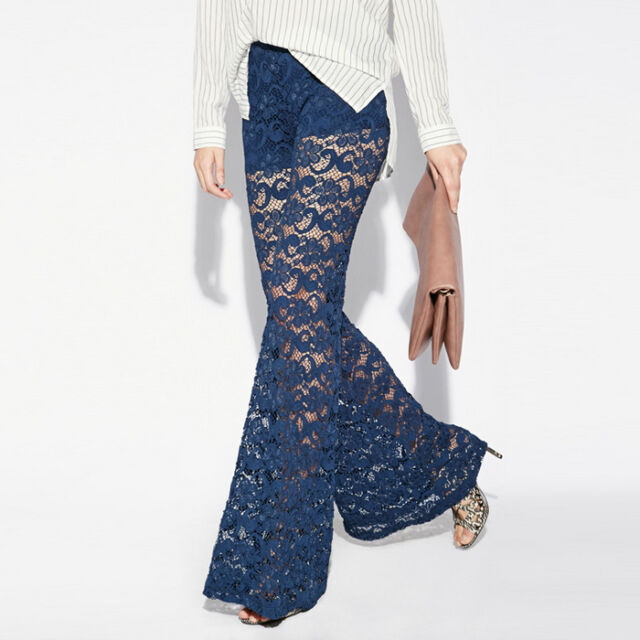 Sexy Sheer Lace Womens Casual Slim Long Flared Palazzo Pants Bell Bottoms XS~2XL