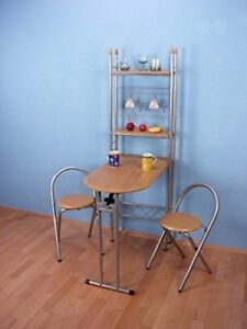 k chentheke 3 tlg wandtisch st hle tisch regal klapptisch klappstuhl spar set ebay. Black Bedroom Furniture Sets. Home Design Ideas