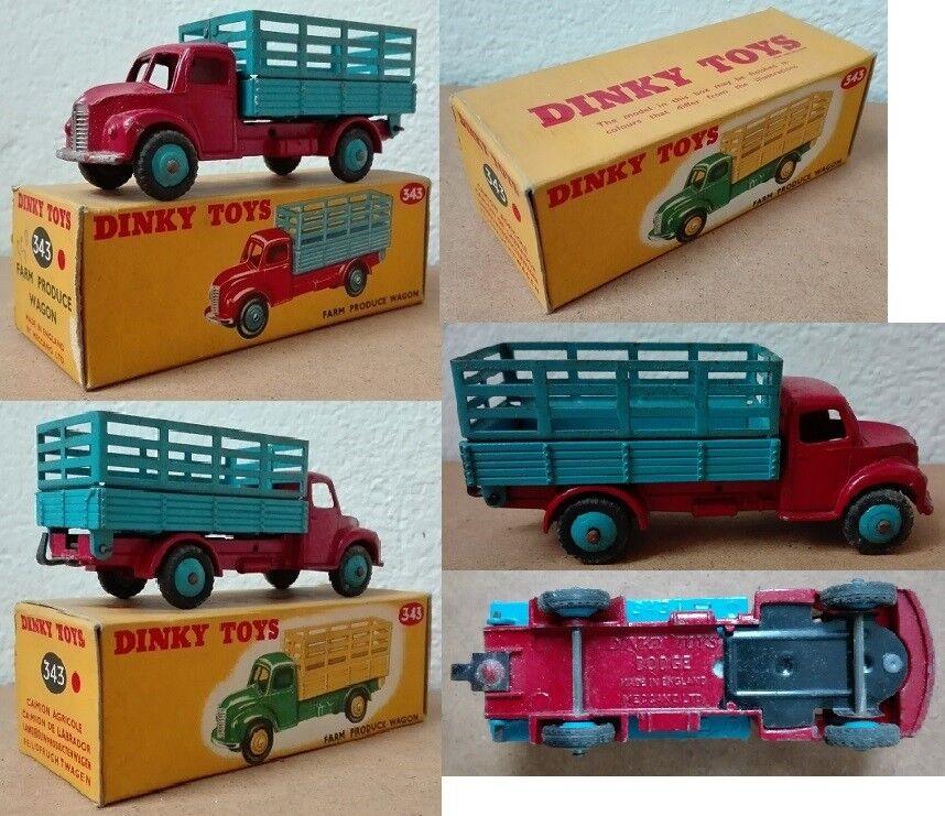 Dinky Toys 343 Dodge Farm Produce Wagon die cast 1 43 bleu rouge