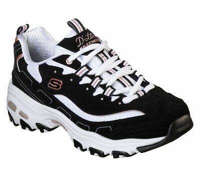 Skechers D'lites Black Gold shoes Women Sporty Memory Foam
