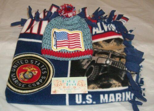 "Boys Baby Feet 24x21/""US Marines Handmade 2-Sided Tye Fleece Blanket//Beanie Set"