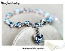 Made with Swarovski Heart Sapphire Blue Round Crystal 18K Gold Plated Bracelet