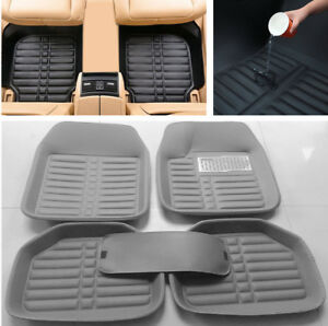 5pcs-Set-Gray-Leather-Universal-Auto-Car-Floor-Mats-Front-Rear-Waterproof-New