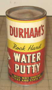 """Vintage 5 & 3/4"""" Tall DURHAM'S WATER PUTTY Thick Paper Full Container 4 Display"""