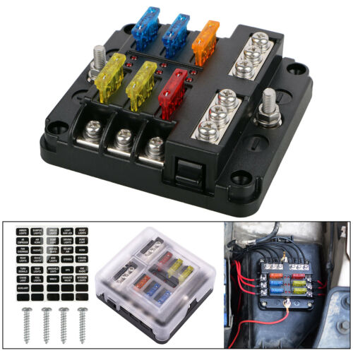 6 Way Blade Fuse Holder Box Block Case 12V//24V Car Truck Boat Marine Bus RV Van