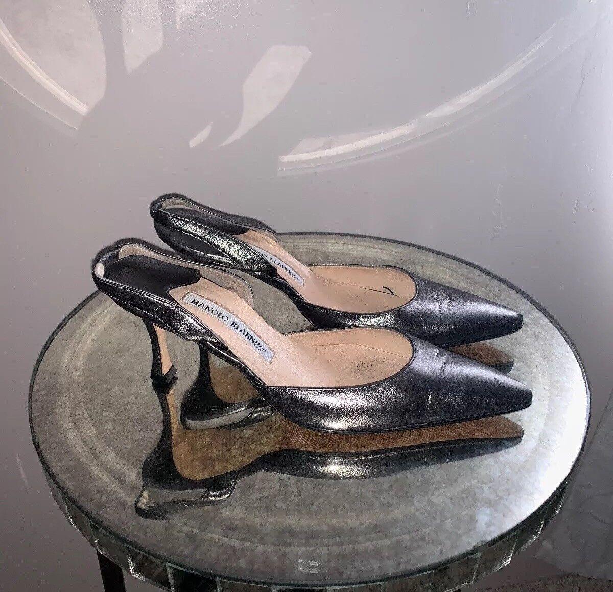Manolo Blahnik Carolyne Pewter Leder  slingback slingback slingback heels 36 1/2 4c93fb