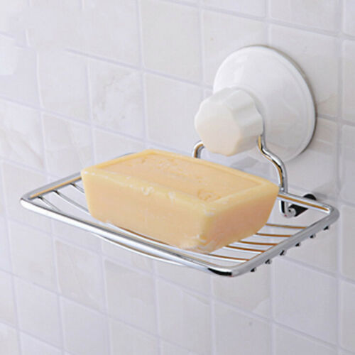 Stainless Steel Soap Holder Strong Vacuum Suction Cup Soap Storage Dish Box LE