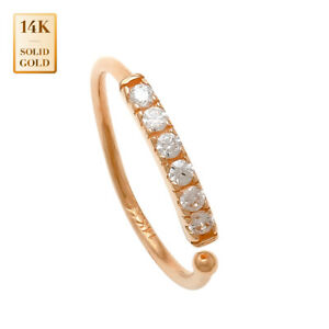 14K-REAL-Solid-Gold-Dainty-CZ-Nose-Hoop-Ring-Lip-Eyebrow-Cartilage-Piercing-20G