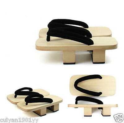 Clogs Men logs Japanese wooden sandals slippers Casual Slippers black