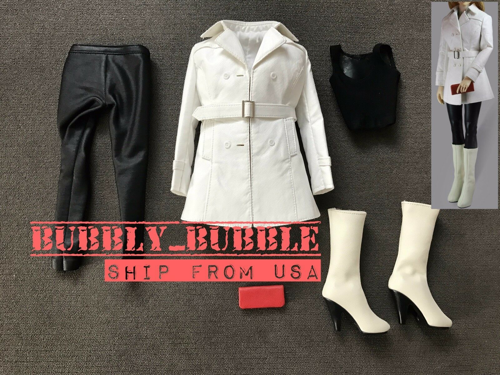 1 6 Women Leather Leather Leather Trench Coat Set WHITE For Phicen Hot Toys Figure SHIP FROM USA 9f4718