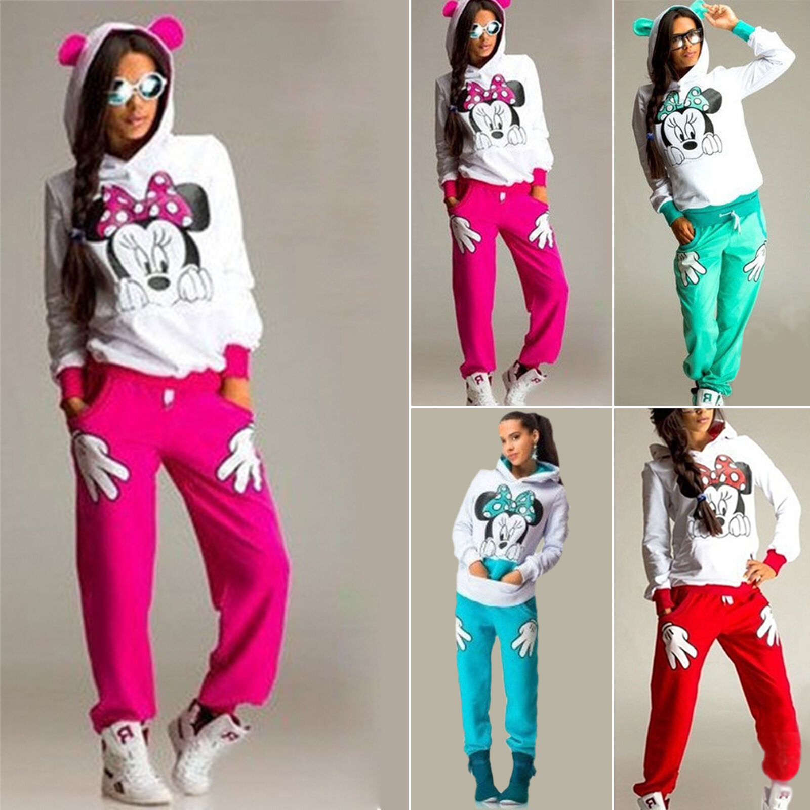 Mikey Mouse Womens Tracksuits Set Running Casual Joggers Gym Sport Loungewear UK