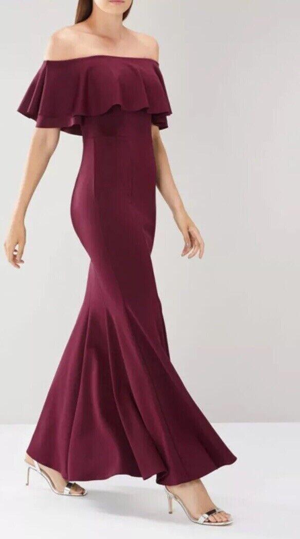 BNWT COAST Chloe Merlot Bardot Occasion Bridesmaids Maxi Dress Größe 12