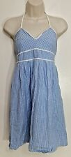 Maple Antropologie Dress 4 Blue White Striped Halter Mini V Neck Babydoll Cotton