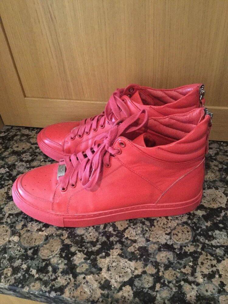 MANIRE DE VOIR , Rojo LEATHER LEATHER LEATHER TRAINER ANKLE botas / Talla 8 / WORN GOOD CONDITION 4668e9