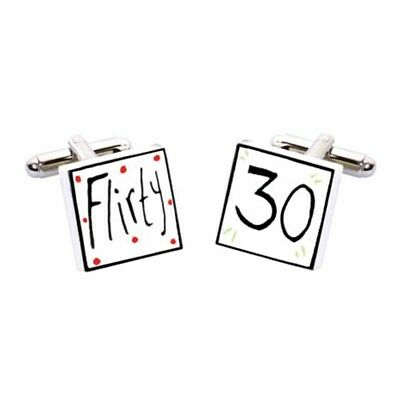 Flirty 30 Cufflinks by Sonia Spencer, Hand painted, RRP £20!, 30th Birthday  | eBay
