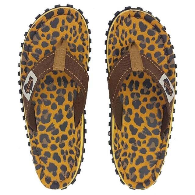 bdc7abd399512e Gumbies Islander Womens Canvas Toe Post Flat Sandals - Leopard Print