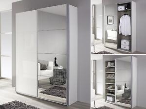garderobenschrank minosa flurschrank kleiderschrank in wei hochglanz spiegel ebay. Black Bedroom Furniture Sets. Home Design Ideas