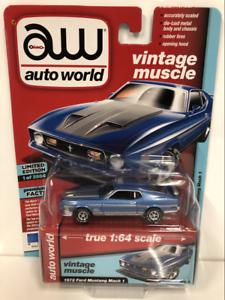 1972-Ford-Mustang-Mach-1-Bleu-Poly-1-64-Echelle-Auto-World-AW64192
