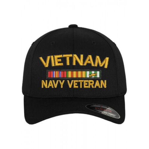Flexfit BASEBALL Military Cap Hat VIETNAM NAVY VETERAN RIBBON