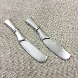 Christofle-Silver-Plate-Cutlery-Set-of-2-Butter-Spreaders-Vintage-French-Babylon
