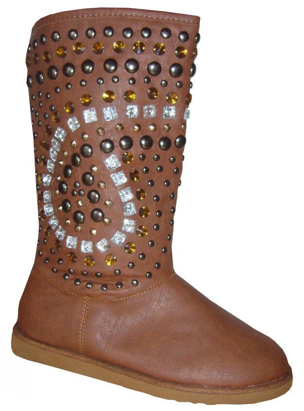 Bottes bottes Rivets fausse fourrure strass chaussures bottes D'Hiver 36 37 38 39 40 41 nouveau