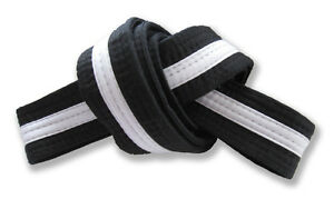 "2"" Master Belt Black with White Stripe Double Wrap Sizing with 11-Stitching Rows"