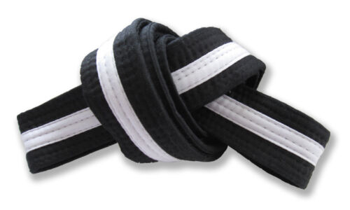 "2"" Master Belt Black with White Stripe Double Wrap Sizing with 11Stitching Rows"
