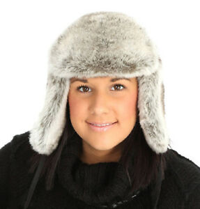 Ladies-Faux-Fur-Trapper-Hat-Grey-Warm-Winter-Mens-Russian-Thick-Lined-Luxury-NEW